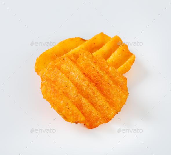 ridged potato chips - Stock Photo - Images