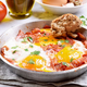 Fried eggs with tomatoes and bacon - PhotoDune Item for Sale