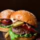Tasty hamburger on wooden board - PhotoDune Item for Sale