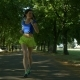 Smiling Beautiful Sporty Woman Jogging in Park - VideoHive Item for Sale