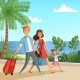 Background Illustration with Happy Family Walking