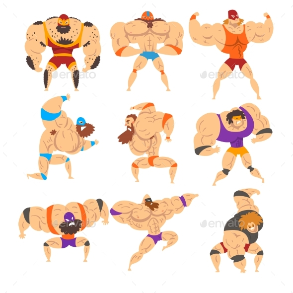 Powerful Wrestling Fighter Characters Set - Sports/Activity Conceptual