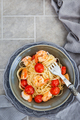 Spaghetti with prawns and cherry tomatoes, top view - PhotoDune Item for Sale