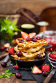 Belgian waffles with fresh berries and jam for breakfast - PhotoDune Item for Sale
