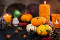 Autumnal colorful  pumpkins  on candle and fallen leaves backgro - PhotoDune Item for Sale