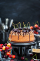 Delicious homemade chocolate cheesecake decorated with fresh che - PhotoDune Item for Sale