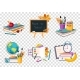 Flat Vector Set of Education Compositions