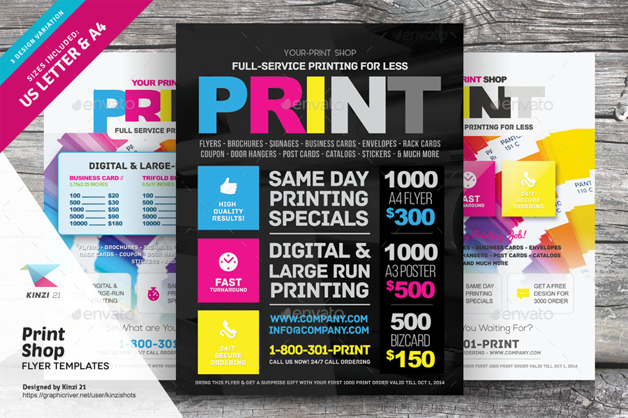 Print Shop Flyer Template by kinzishots | GraphicRiver