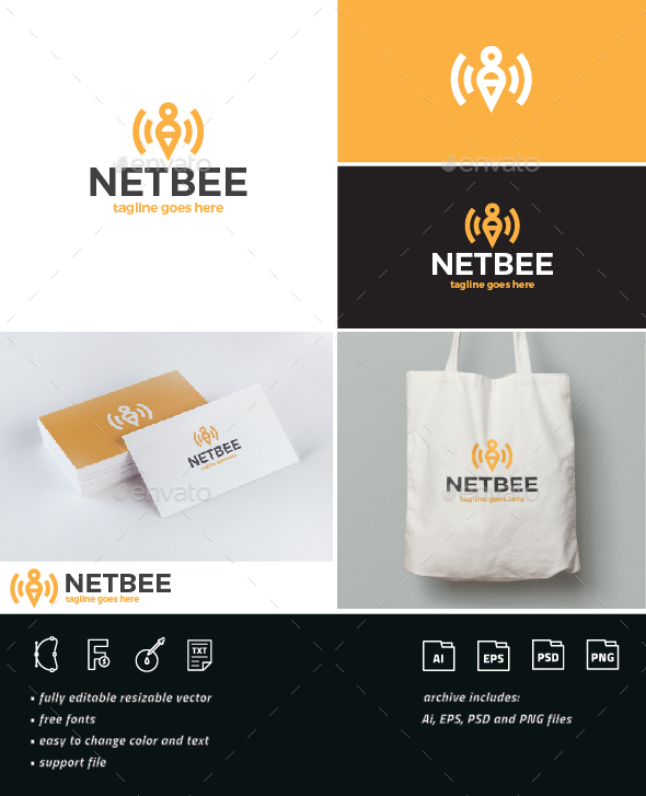 Net Bee Logo - Nature Logo Templates