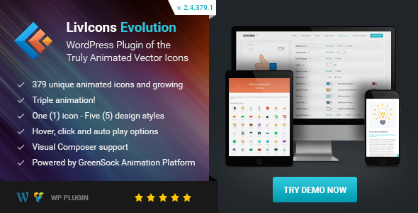 LivIcons Evolution for WordPress - The Next Generation of the Truly Animated Vector Icons - CodeCanyon Item for Sale