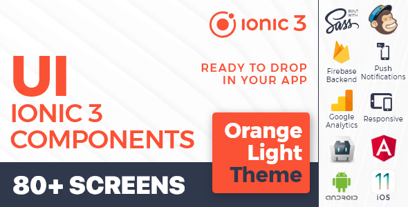 Ionic 3 / Angular 6 UI Theme /  Template App - Multipurpose Starter App - Orange Light            Nulled