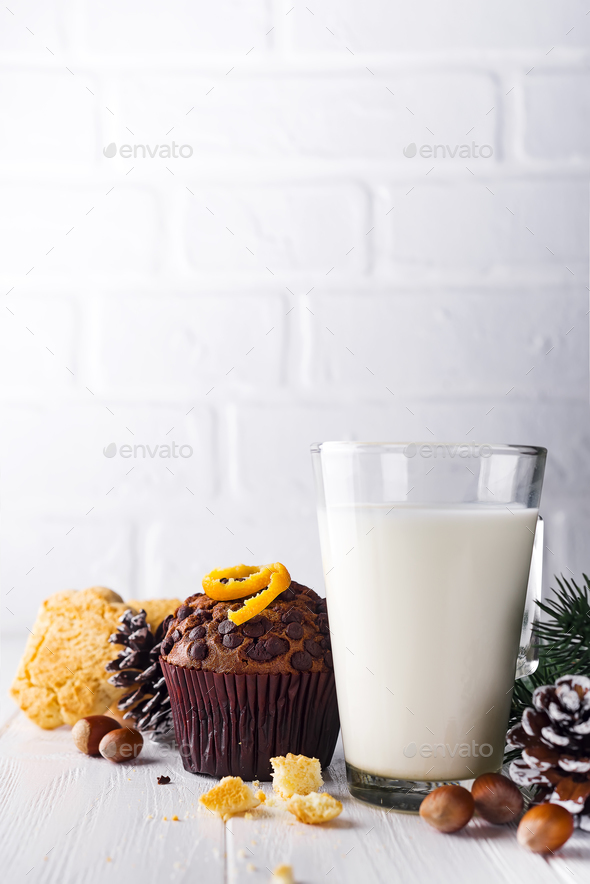 Cookie with milk and christmas tree - Stock Photo - Images