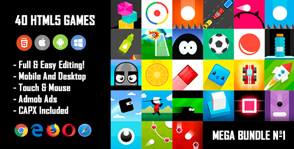 40 HTML5 Games + Mobile Version!!! MEGA BUNDLE №1 (Construct 2 / CAPX)            Nulled