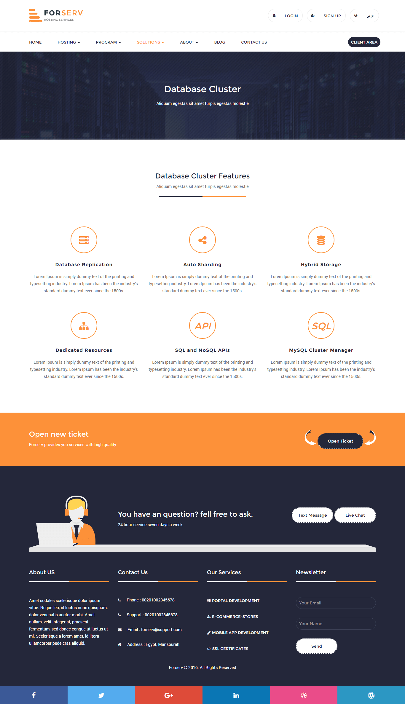 Forserv Whmcs Html Responsive Web Hosting Template Rtl Included