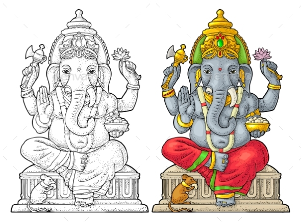 Ganpati with Mouse for Poster Ganesh Chaturthi - Miscellaneous Seasons/Holidays