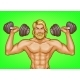 Vector Pop Art Strong Man with Dumbbells