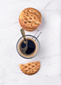 black coffee with homemade cookies on white marble - PhotoDune Item for Sale