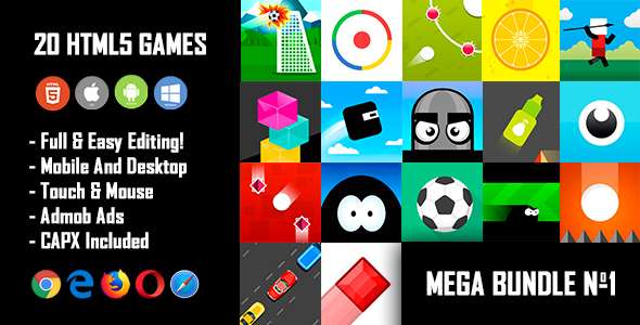 20 HTML5 Games + Mobile Version!!! MEGA BUNDLE №1 (Construct 2 / CAPX)            Nulled