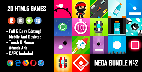 20 HTML5 Games + Mobile Version!!! MEGA BUNDLE №2 (Construct 2 / CAPX)            Nulled