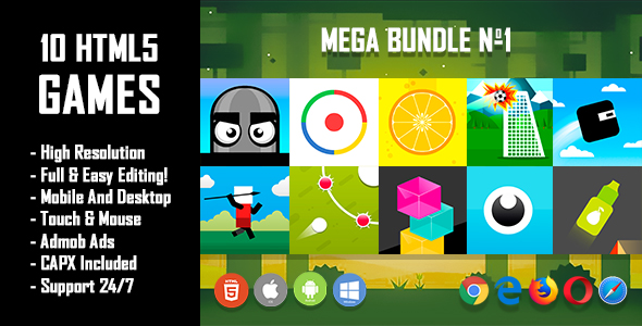 10 HTML5 Games + Mobile Version!!! MEGA BUNDLE №1 (Construct 2 / CAPX)            Nulled