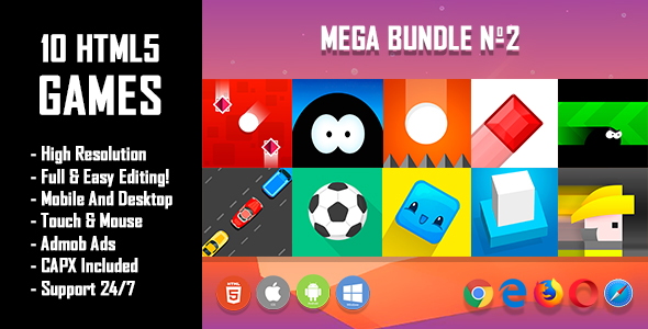 10 HTML5 Games + Mobile Version!!! MEGA BUNDLE №2 (Construct 2 / CAPX)            Nulled