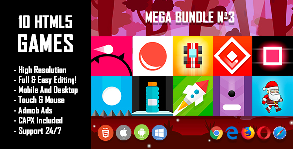 10 HTML5 Games + Mobile Version!!! MEGA BUNDLE №3 (Construct 2 / CAPX)            Nulled