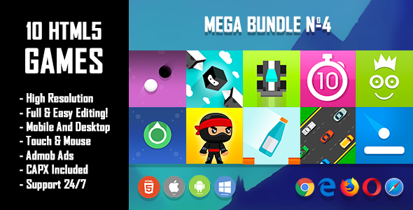 10 HTML5 Games + Mobile Version!!! MEGA BUNDLE №4 (Construct 2 / CAPX)            Nulled