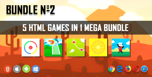 5 HTML5 Games + Mobile Version!!! BUNDLE №2 (Construct 2 / CAPX)            Nulled