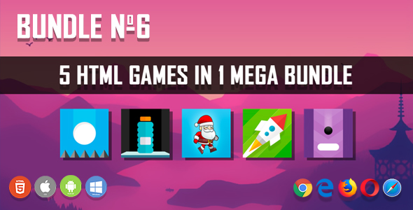 5 HTML5 Games + Mobile Version!!! BUNDLE №6 (Construct 2 / CAPX)            Nulled