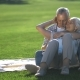 Affectionate Senior Couple Relaxing on Green Lawn - VideoHive Item for Sale