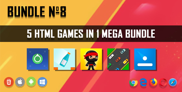 5 HTML5 Games + Mobile Version!!! BUNDLE №8 (Construct 2 / CAPX)            Nulled
