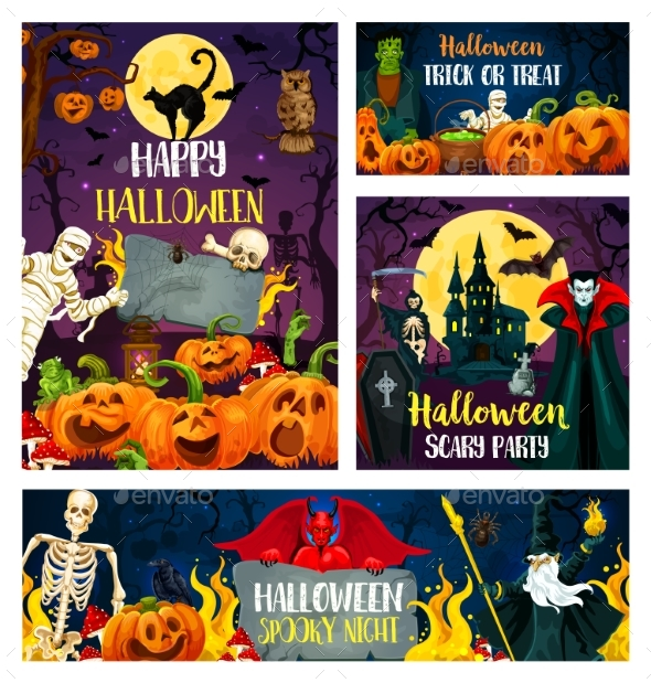 Halloween Banner of Horror Party Invitation Design - Halloween Seasons/Holidays