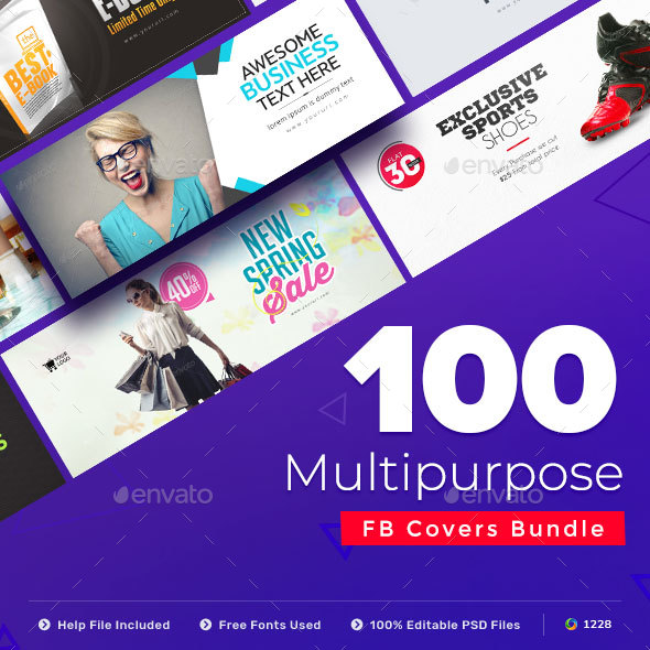 Multipurpose Facebook Cover Templates - 100 Designs - Facebook Timeline Covers Social Media