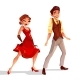 Jazz Dancers Man and Woman Vector Illustration