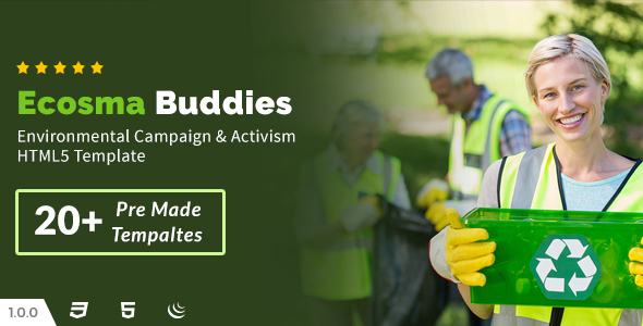 Ecosma Buddies - Environmental Campaign & Activism HTML5 Template - Environmental Nonprofit