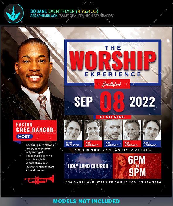 Worship and Praise Square Flyer Template - Church Flyers