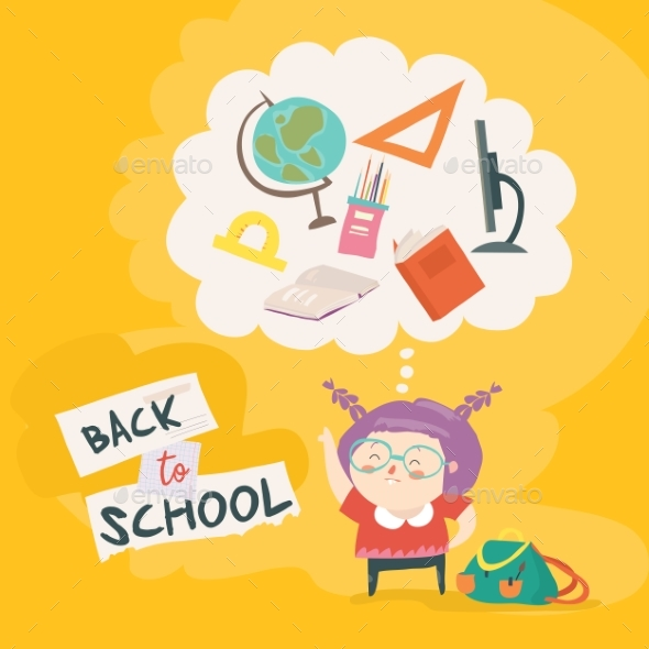 Girl is Getting Ready for School - Miscellaneous Vectors