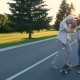 Senior Woman Learning To Skateboard with Husband - VideoHive Item for Sale