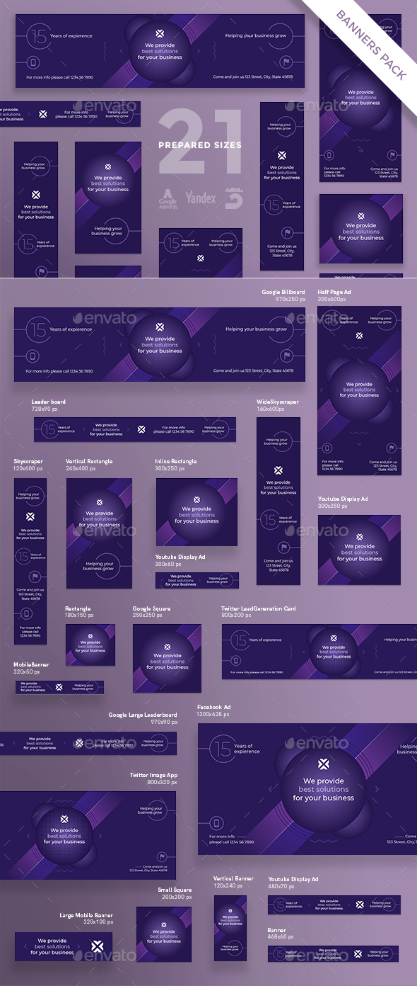 Marketing Agency Banner Pack - Banners & Ads Web Elements