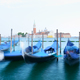 Row of gondolas parked on city pier - PhotoDune Item for Sale