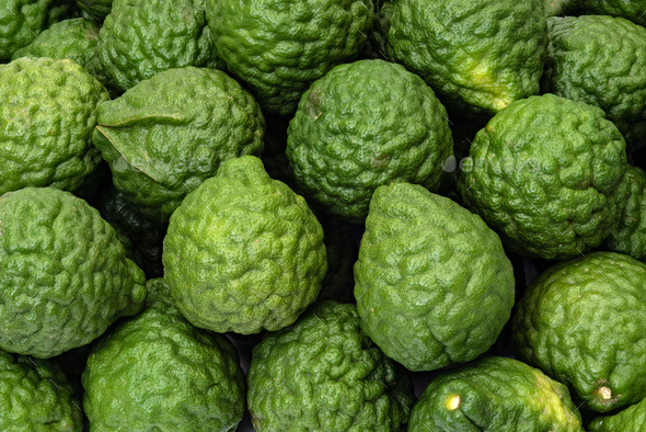 Fresh kaffir limes, bergamot fruit for herbal products - Stock Photo - Images