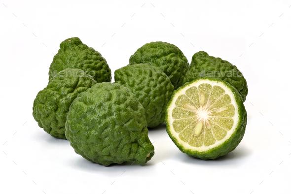 Citrus hystrix, bergamot fruit on white background - Stock Photo - Images