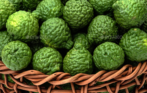 Citrus hystrix, bergamot fruit for herbal medicine - Stock Photo - Images