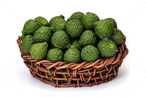 Kaffir lime in basket of wicker, for herbal medicine - Stock Photo - Images