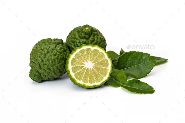 Kaffir limes, bergamot fruit on white background - Stock Photo - Images