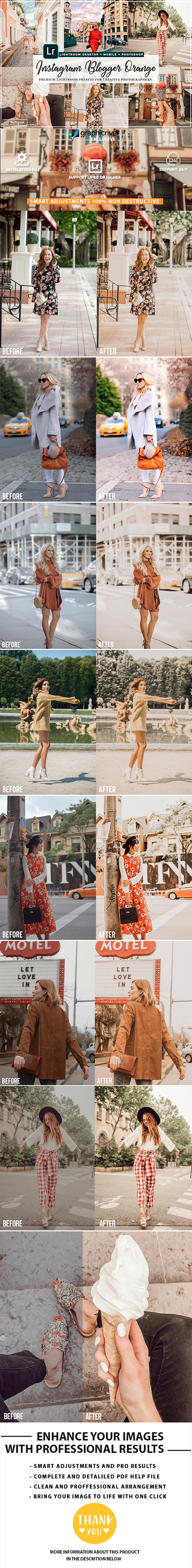 Orange Instagram Blogger Presets - Lightroom Presets Add-ons