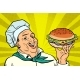 Cook Chef Man Presentation Gesture of Hamburger - GraphicRiver Item for Sale