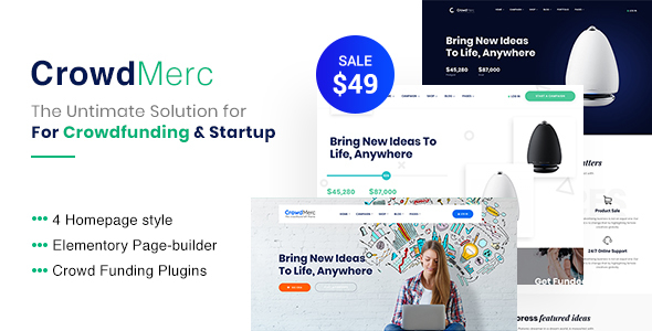 Image of Crowdmerc - Crowdfunding Startup Fundraising WordPress Theme