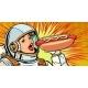 Hungry Woman Astronaut Eating Hot Dog Sausage