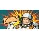 Smiling Man Astronaut Presents Shawarma Kebab
